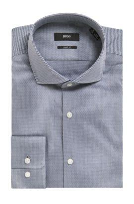 'Mark US' | Sharp Fit, Pinstripe Patterned Cotton Dress Shirt, Dark Grey