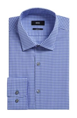 Check Cotton Dress Shirt, Sharp Fit | Marley US, Purple