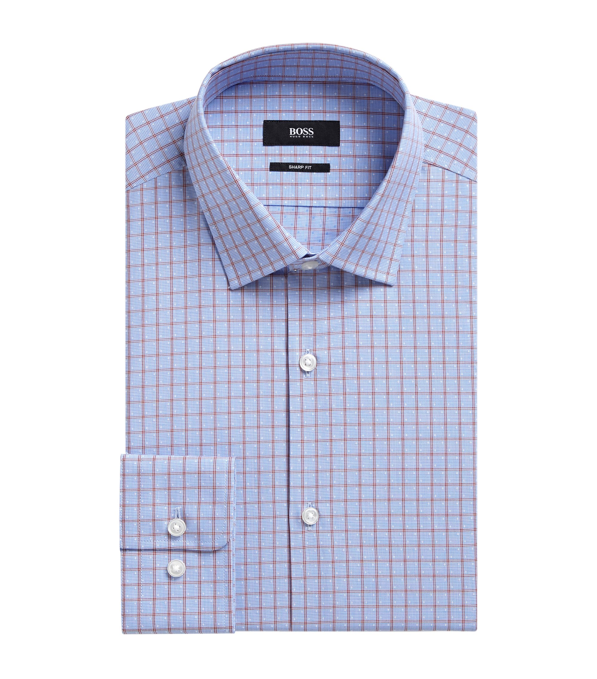 Checked Cotton Dress Shirt, Sharp Fit | Marley US, Red