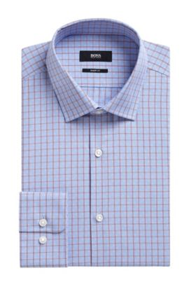 'Marley US' | Sharp Fit, Check Cotton Dress Shirt, Red