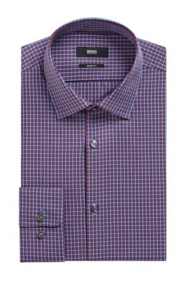 Plaid Cotton Dress Shirt, Sharp Fit | Marley US, Red
