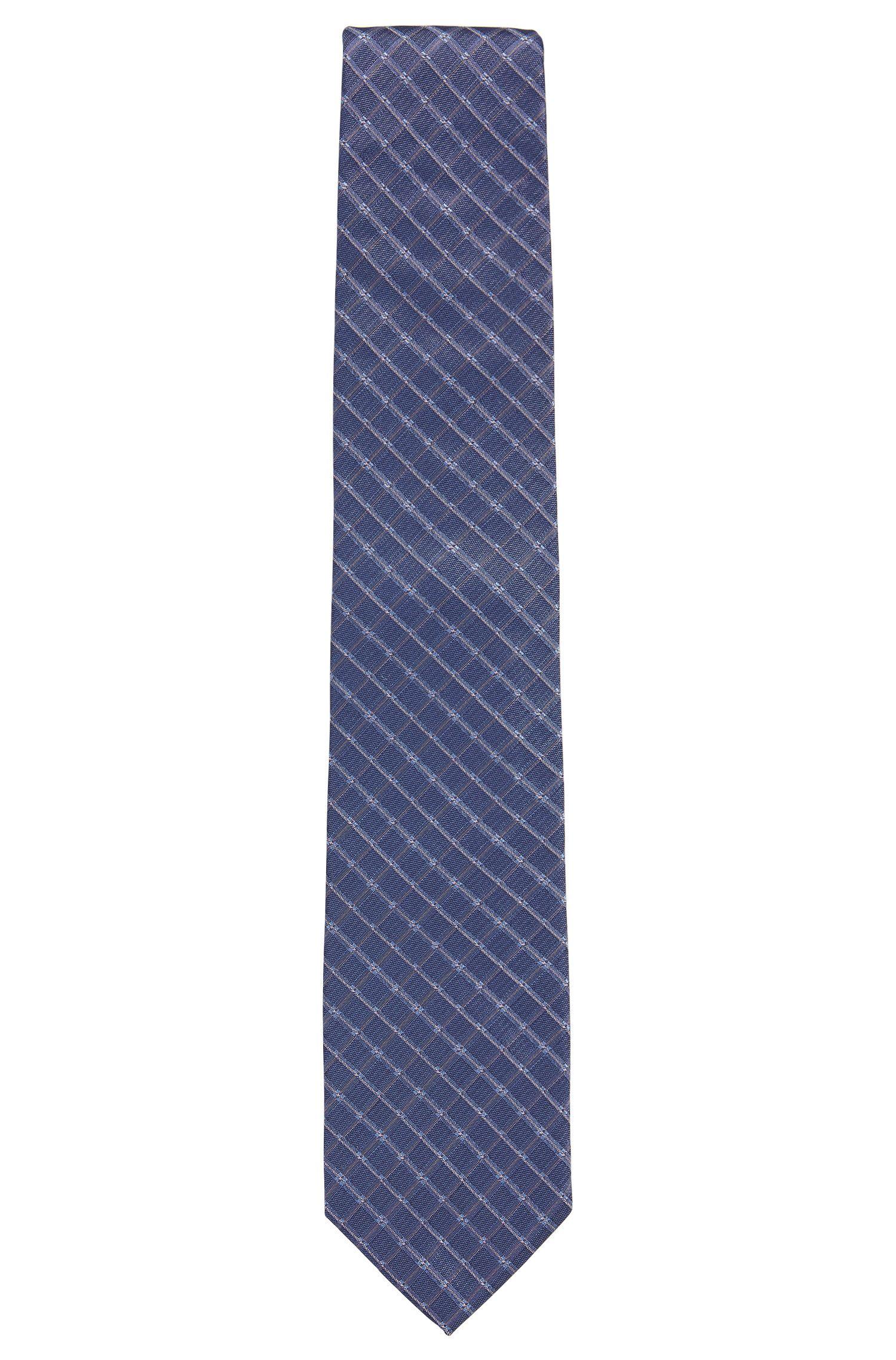 Checked Italian Silk Tie, Dark Blue