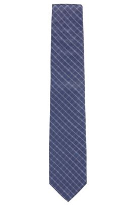Checked Italian Silk Tie, Dark Blue
