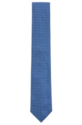 Geometric Italian Silk Tie, Light Blue