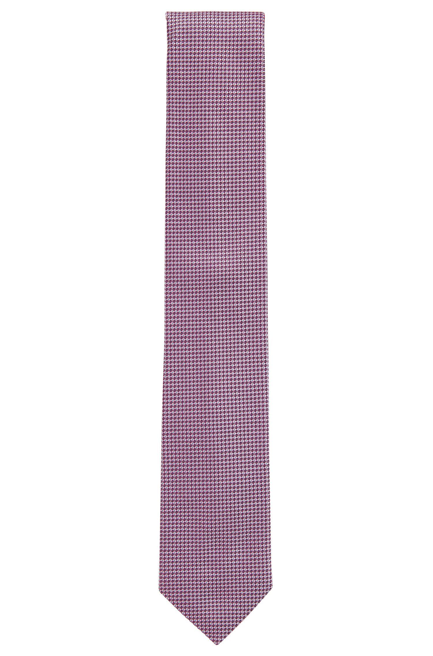 Geometric Italian Silk Tie, Open Pink