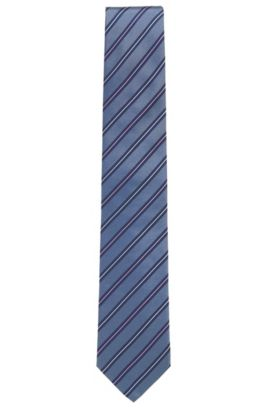 Striped Silk Tie, Regular | Tie 7.5 cm, Dark Blue