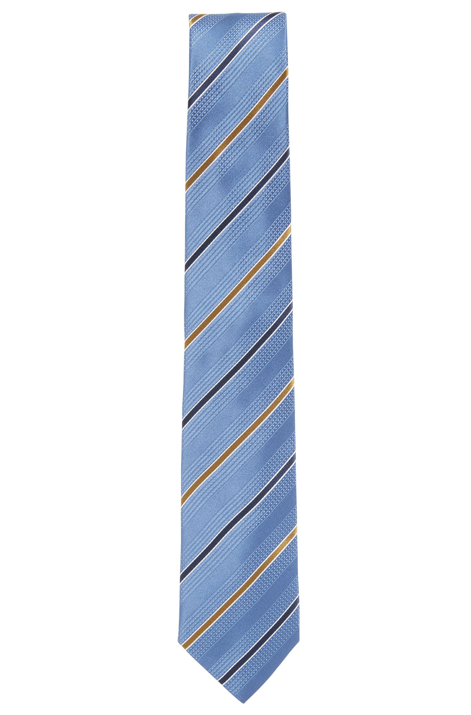 Striped Italian Silk Tie, Dark Blue