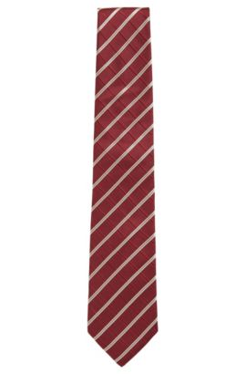 Striped Italian Silk Tie, Red