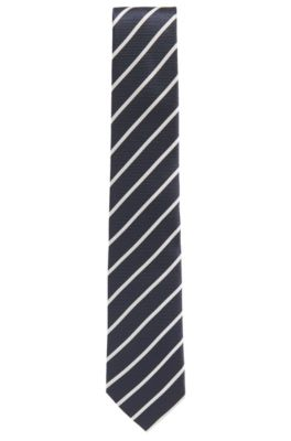 Striped Italian Silk Tie, Dark Blue
