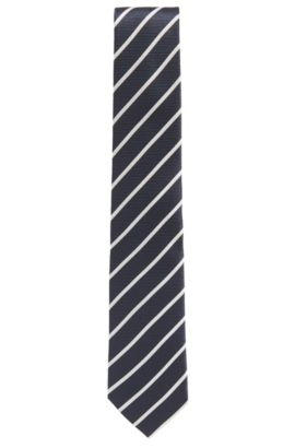 Striped Silk Tie, Regular Fit | Tie 7.5 cm', Dark Blue