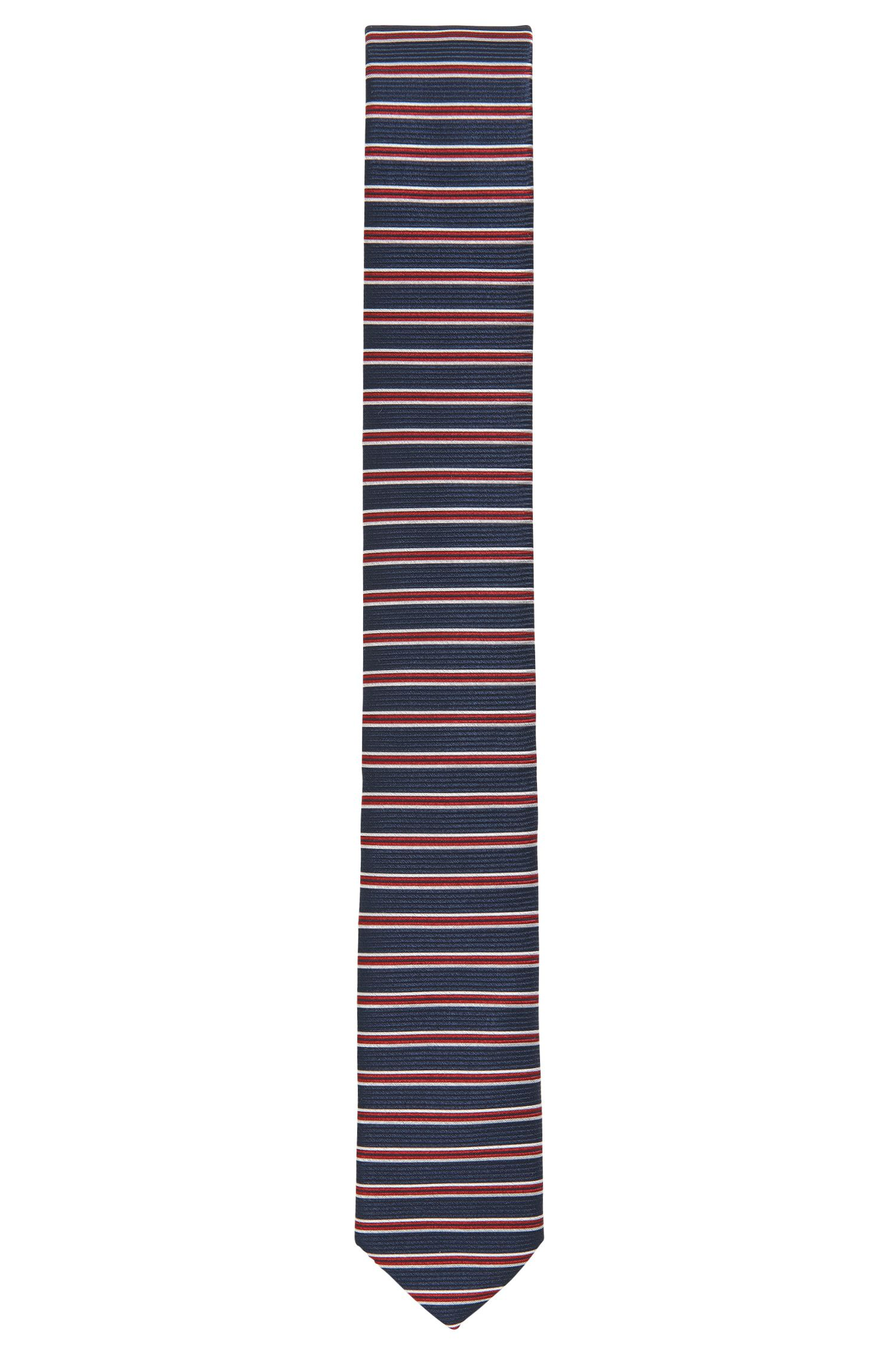 Striped Italian Silk Slim Tie, Red