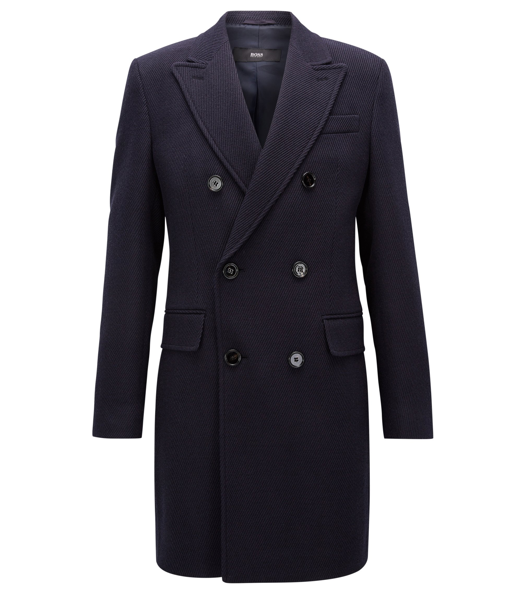 Virgin Wool Twill Double-Breasted Overcoat | Darvin, Dark Blue