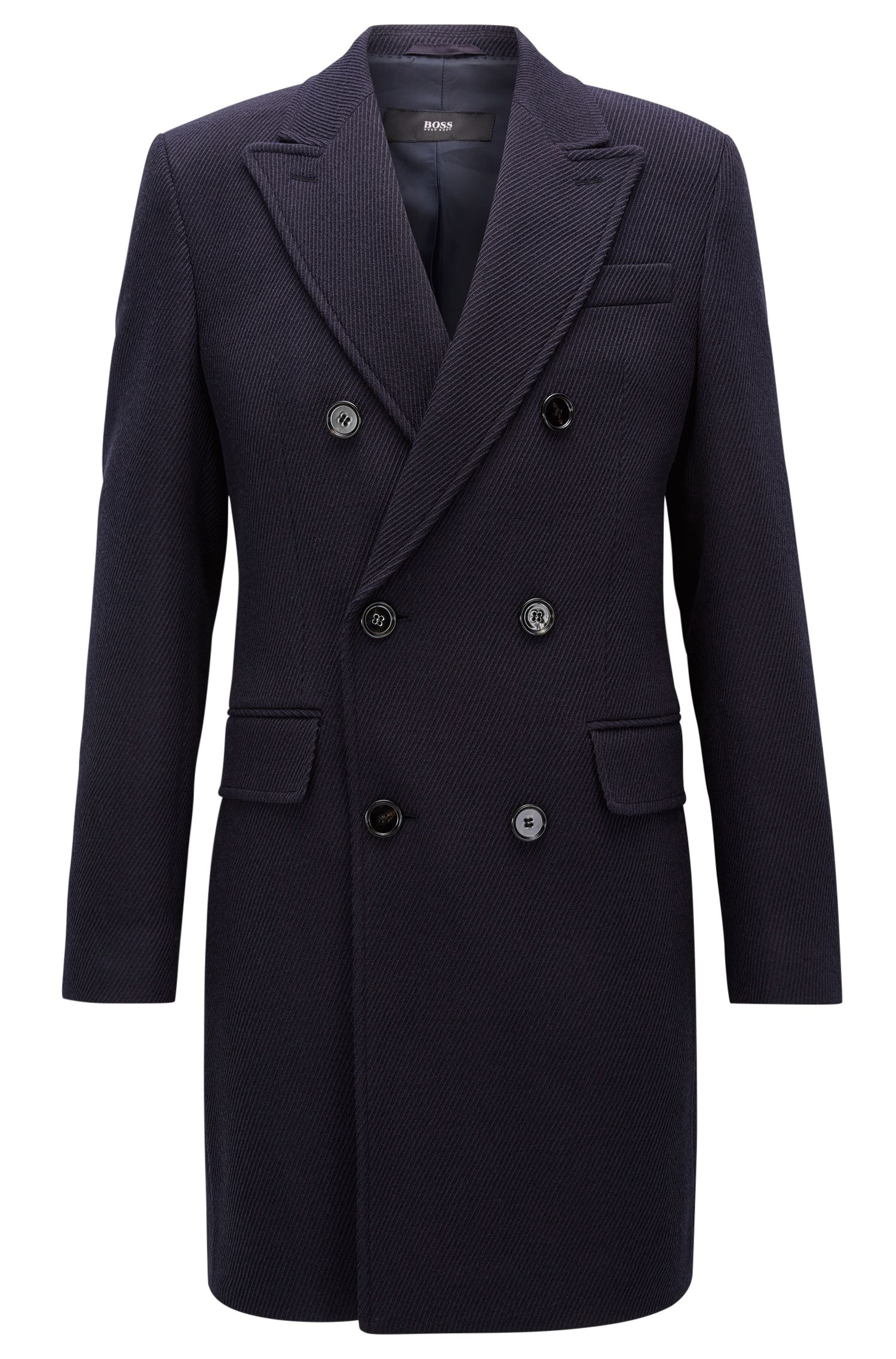 Virgin Wool Twill Double-Breasted Overcoat | Darvin