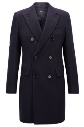 'Darvin' | Virgin Wool Twill Double-Breasted Overcoat, Dark Blue