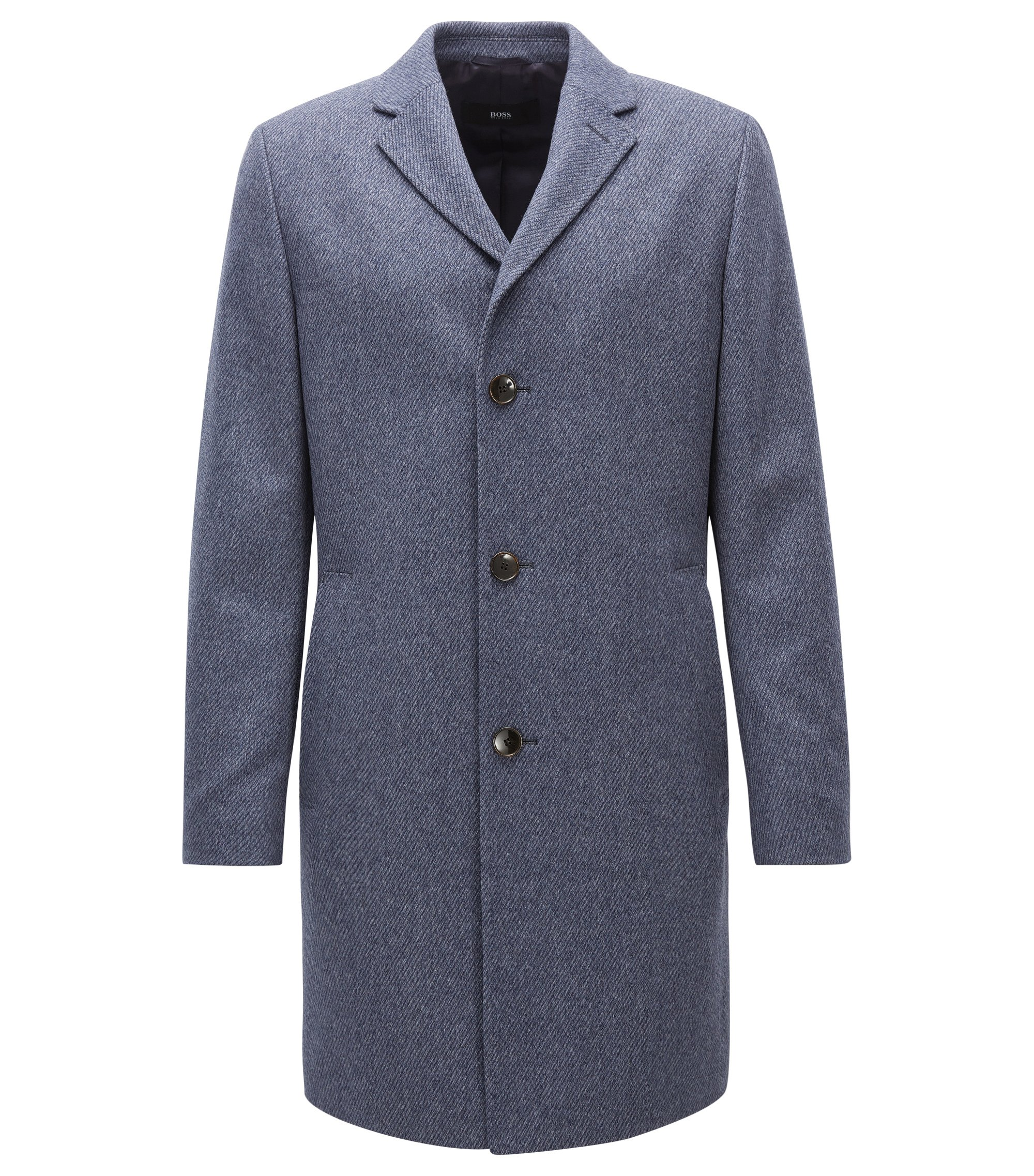 Virgin Wool-Cashmere Coat   Stratus, Open Blue