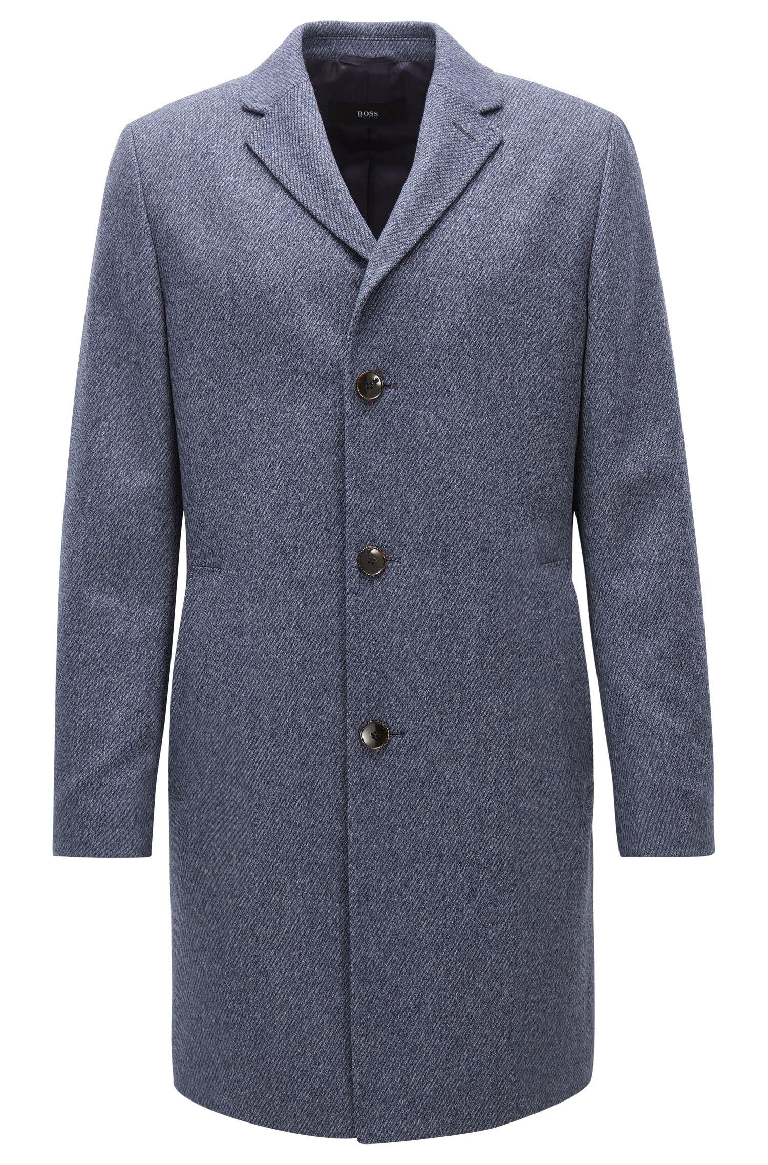 Virgin Wool-Cashmere Coat | Stratus, Open Blue