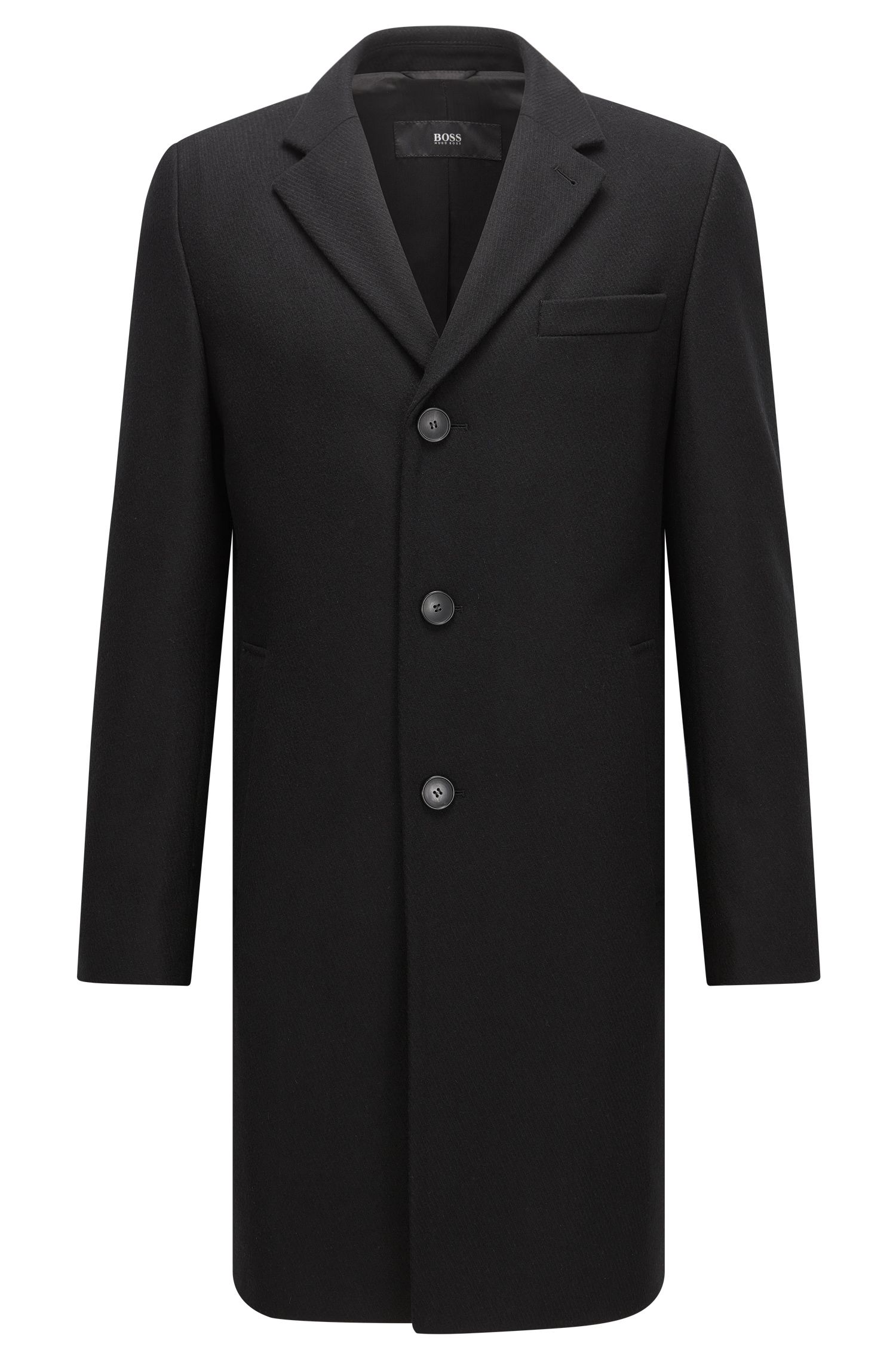 Virgin Wool Blend Topcoat | Nye, Black