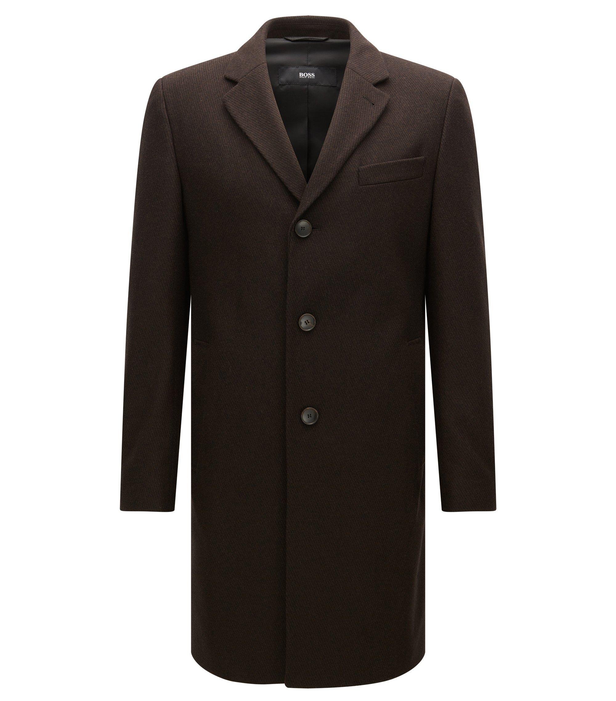 Virgin Wool Blend Topcoat   Nye, Dark Brown