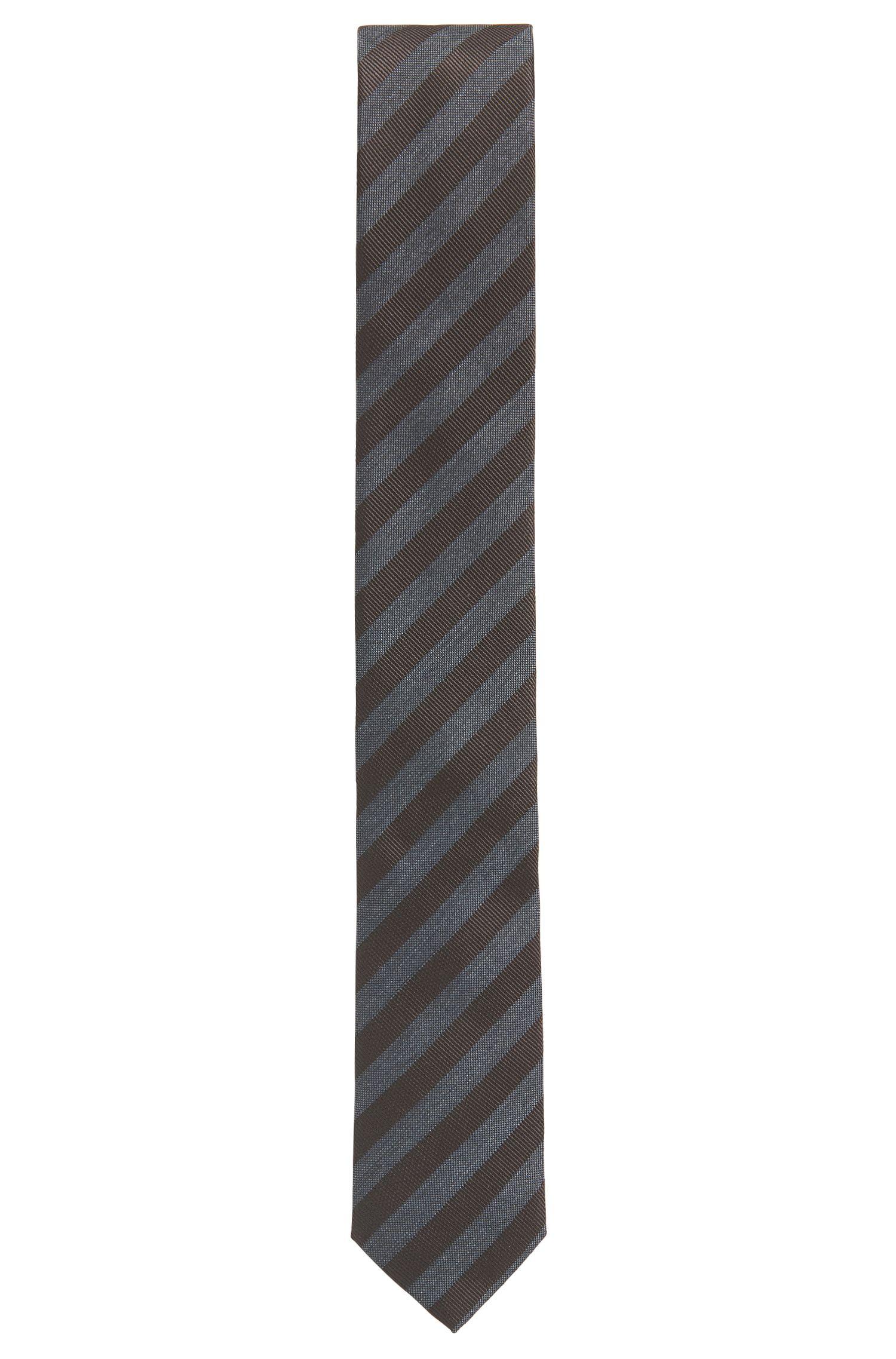 Striped Woven Silk Tie, Slim   Tie 6 cm