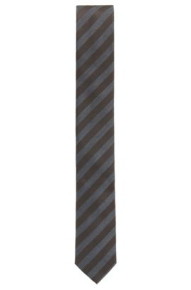 Striped Italian Silk Slim Tie, Dark Brown