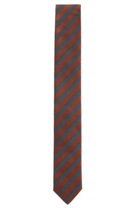Striped Italian Silk Slim Tie, Brown