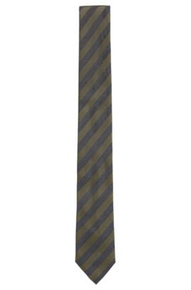 Striped Woven Silk Tie, Slim | Tie 6 cm, Open Green
