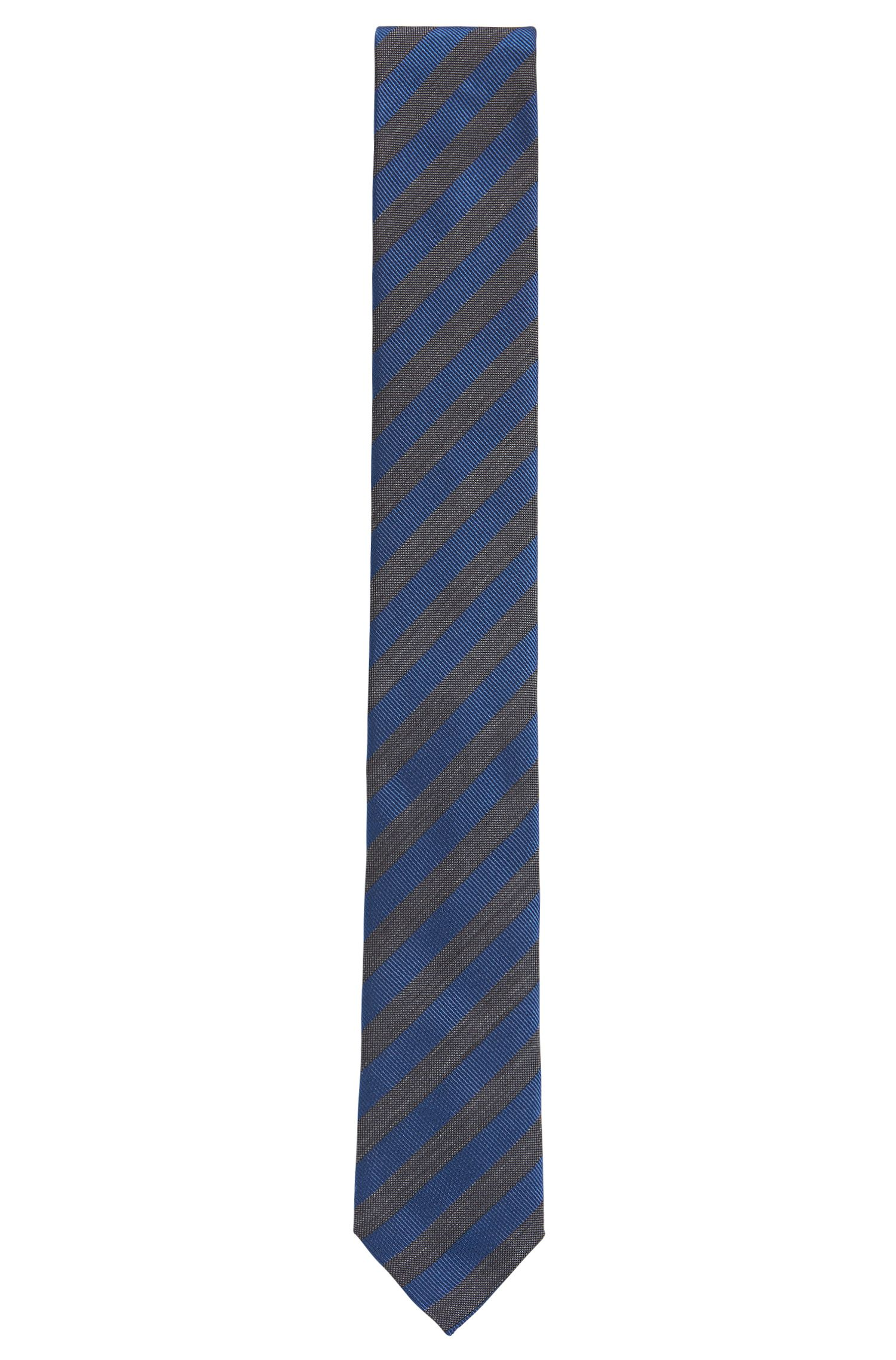 Striped Italian Silk Slim Tie, Turquoise