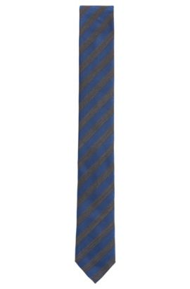 Striped Italian Silk Slim Tie, Turquoise