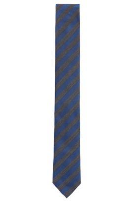 Striped Woven Silk Tie, Slim | Tie 6 cm, Turquoise