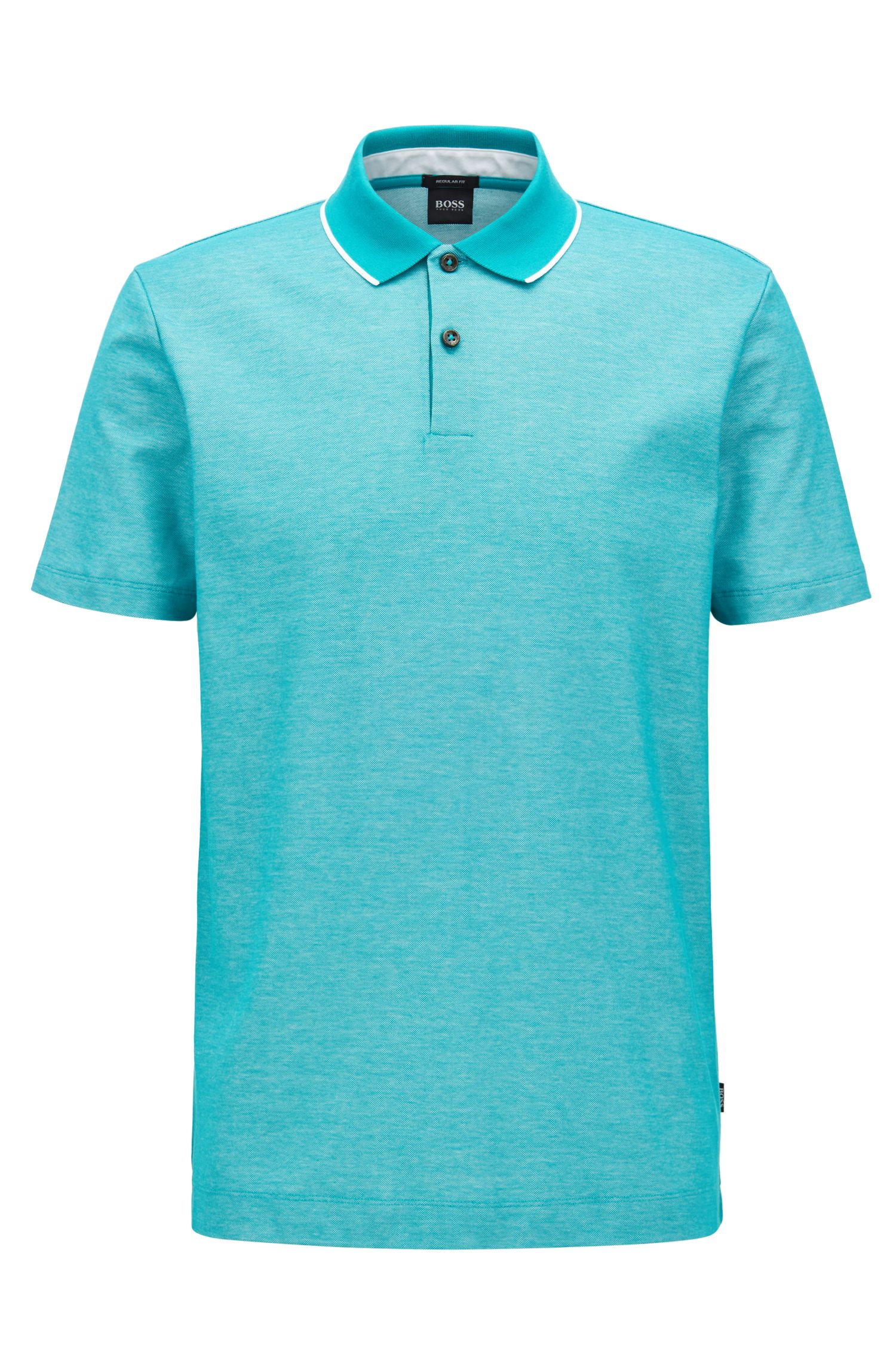 Regular-fit polo shirt in two-tone honeycomb cotton, Green