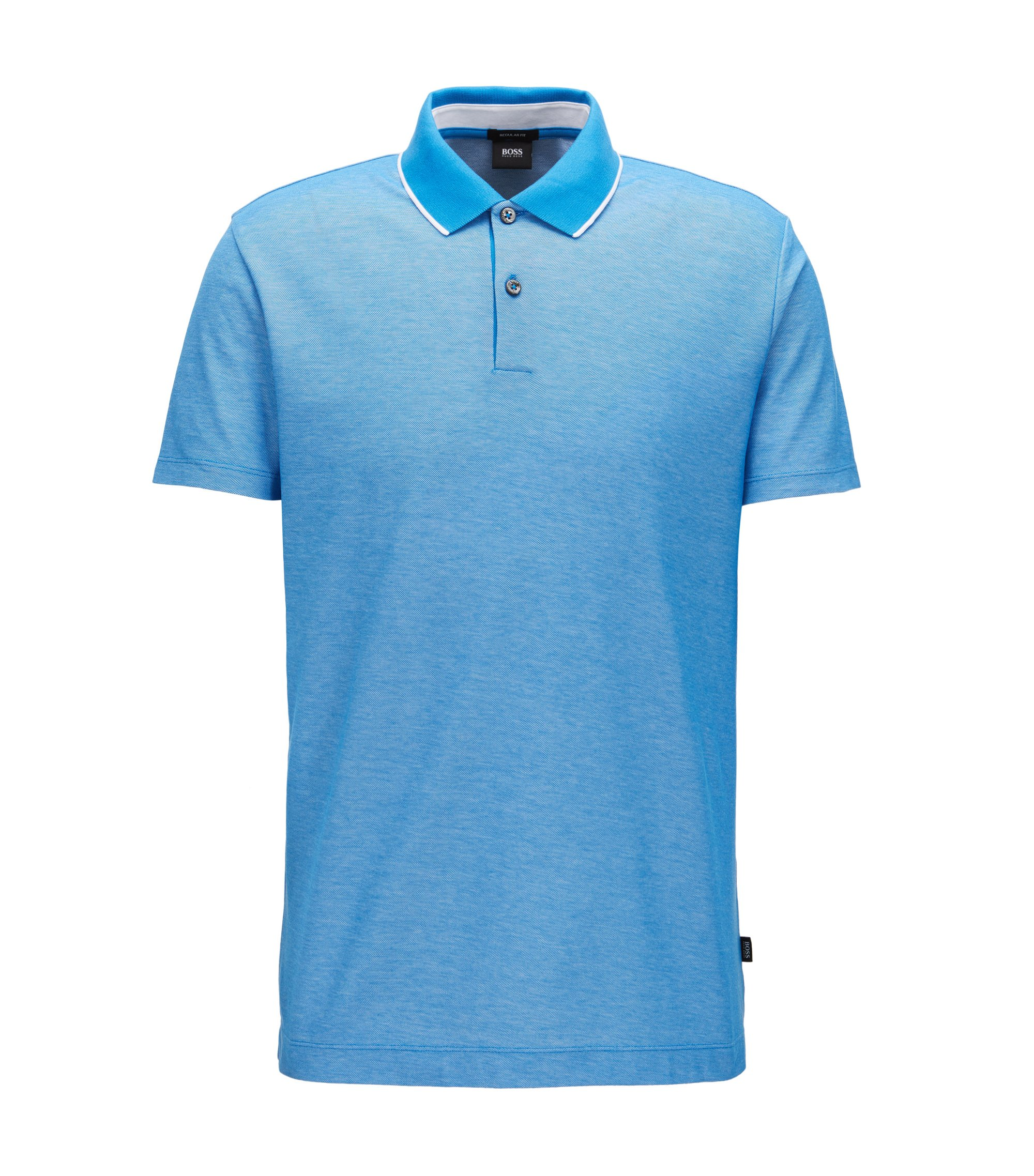 Regular-fit polo shirt in two-tone honeycomb cotton, Blue