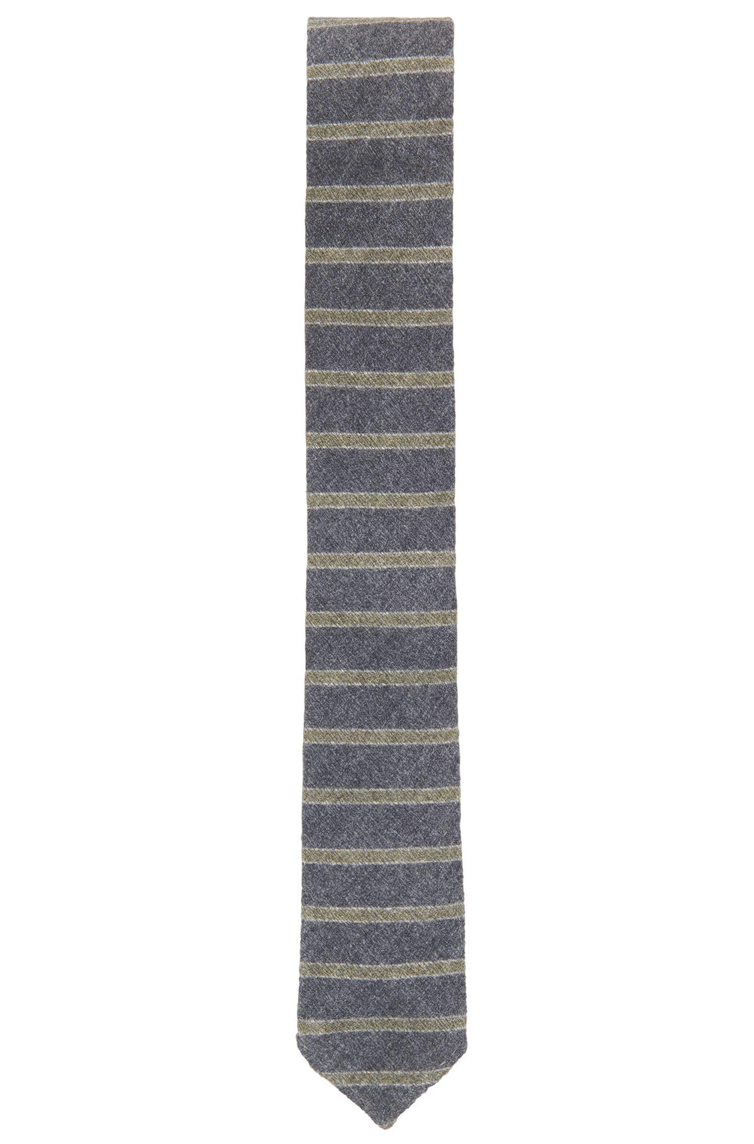 Striped Wool Silk Slim Tie