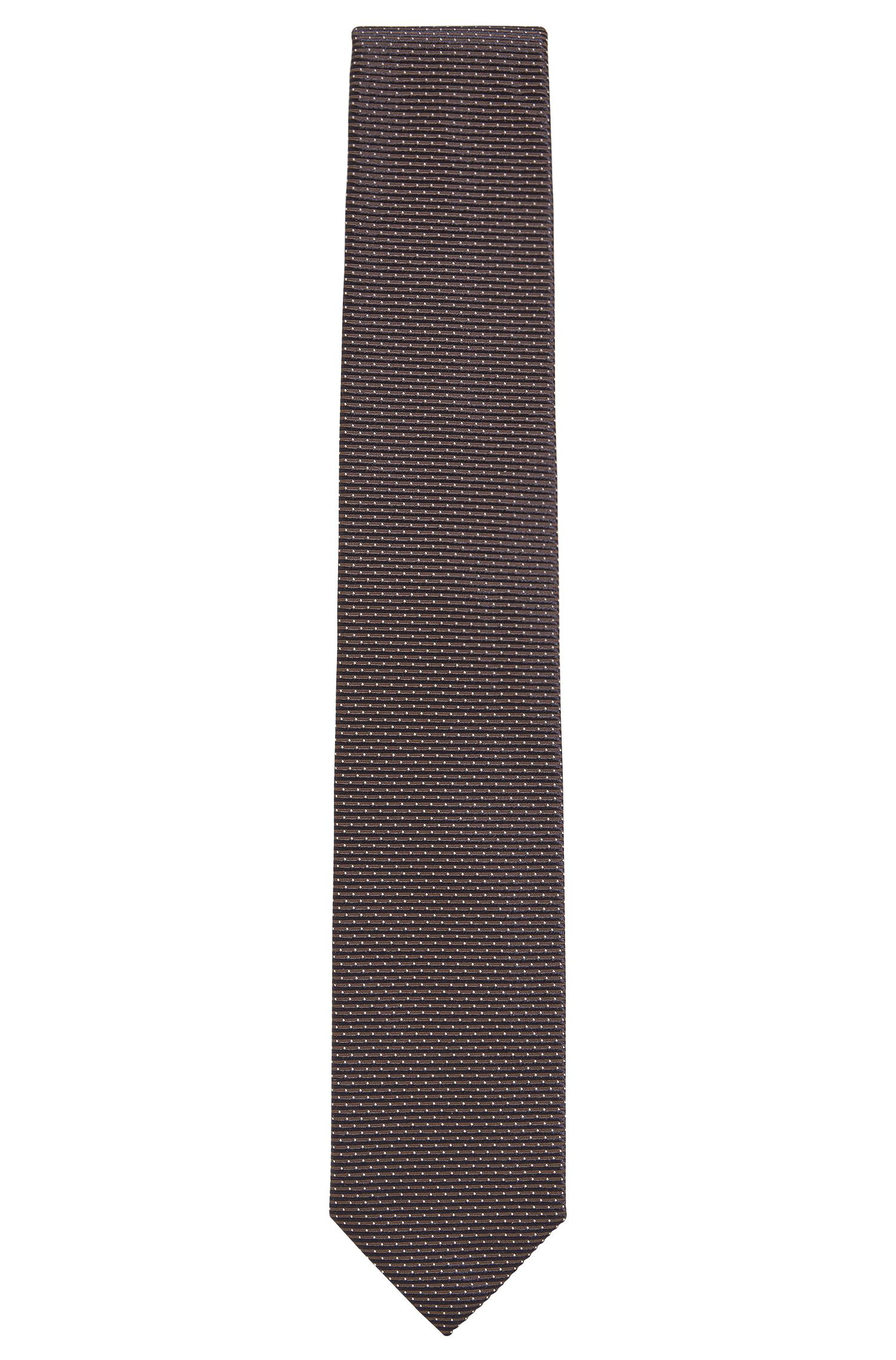 Geometric Italian Silk Tie, Brown