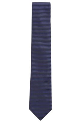 Striped Silk Tie, Regular | Tie 7.5 cm, Open Blue