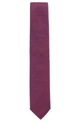 Striped Italian Silk Tie, Dark Purple
