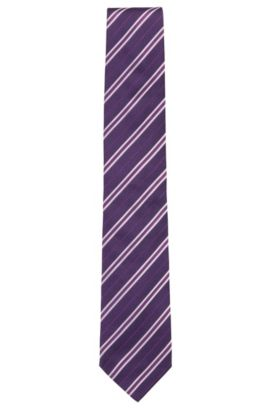 'Tie 7.5 cm' | Regular, Striped Silk Tie, Blue