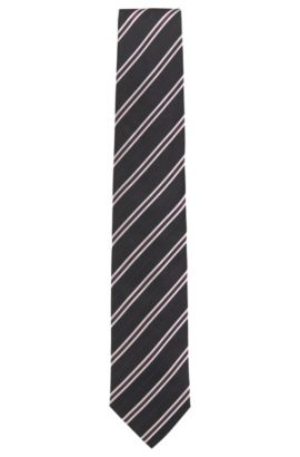 Striped Italian Silk Tie, Dark Red