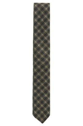 Plaid Virgin Wool Slim Tie, Open Green
