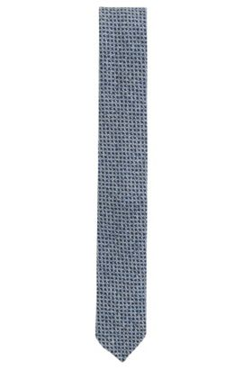 Checked Virgin Wool Slim Tie, Dark Blue
