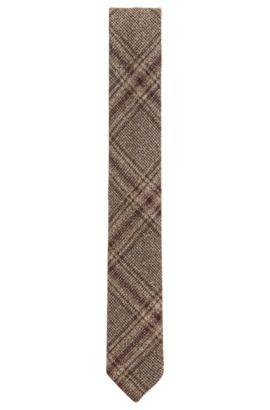 Plaid Wool Blend Tie, Slim | Tie 6 cm Soft, Khaki