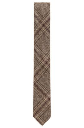 Plaid Wool Blend Tie, Slim | Tie 6 cm Soft, Khaki