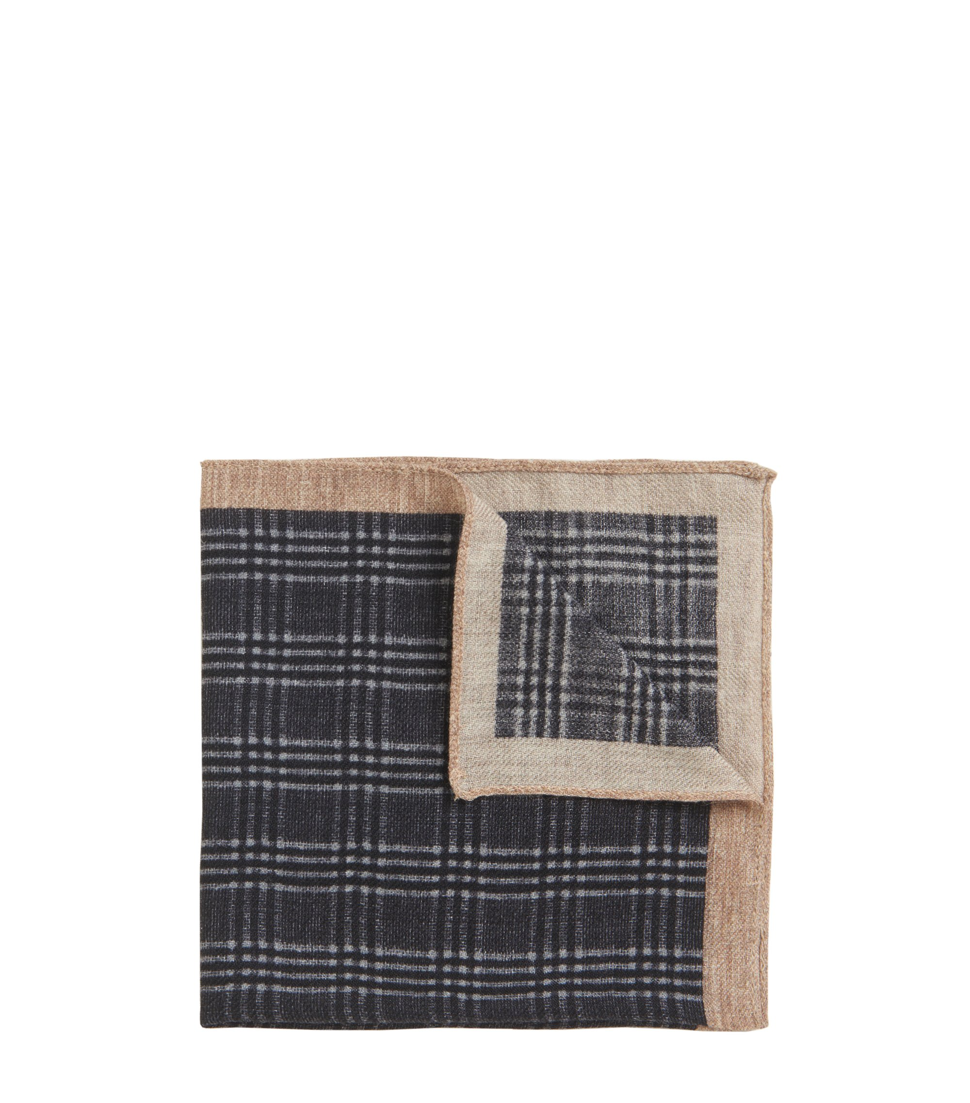 Glen Plaid Wool Pocket Square, Grey