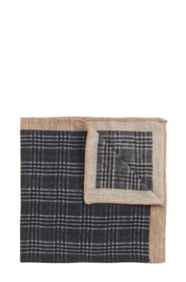 Glen Plaid Wool Pocket Square, Grey