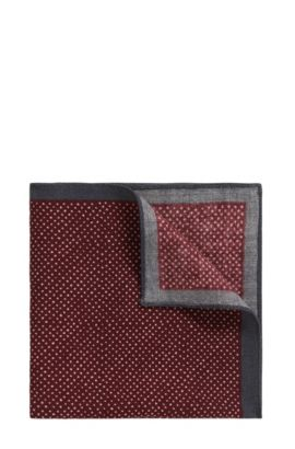 'Pocket sq. 33x33 cm' | Pindot Wool Pocket Square, Red