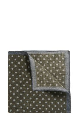 Polka Dot Wool Pocket Square, Open Green