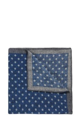 Polka Dot Wool Pocket Square, Open Blue