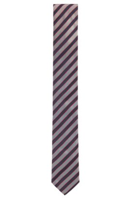 Striped Italian Silk Slim Tie, Blue