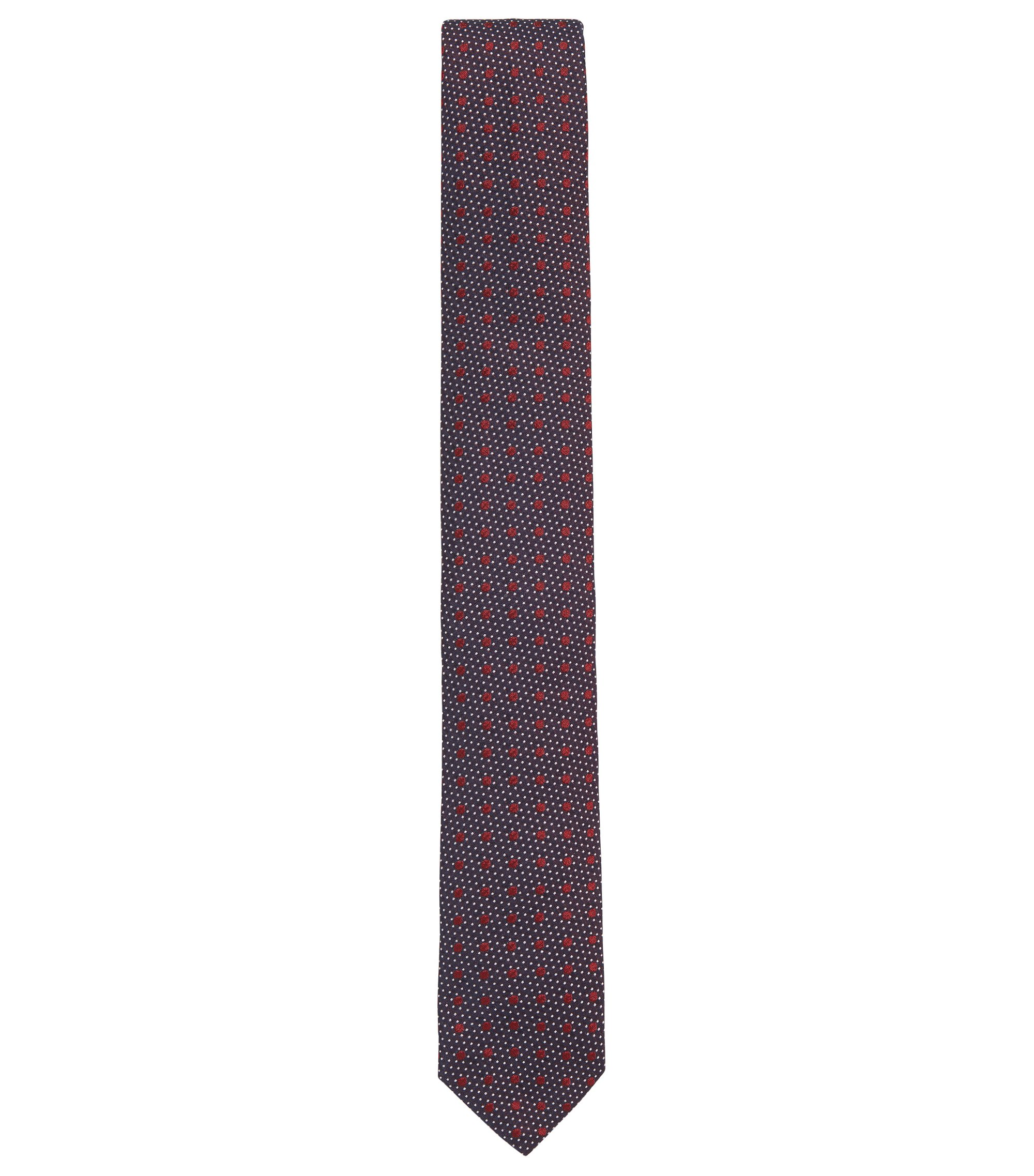Multi-Dot Italian Silk Slim Tie, Red