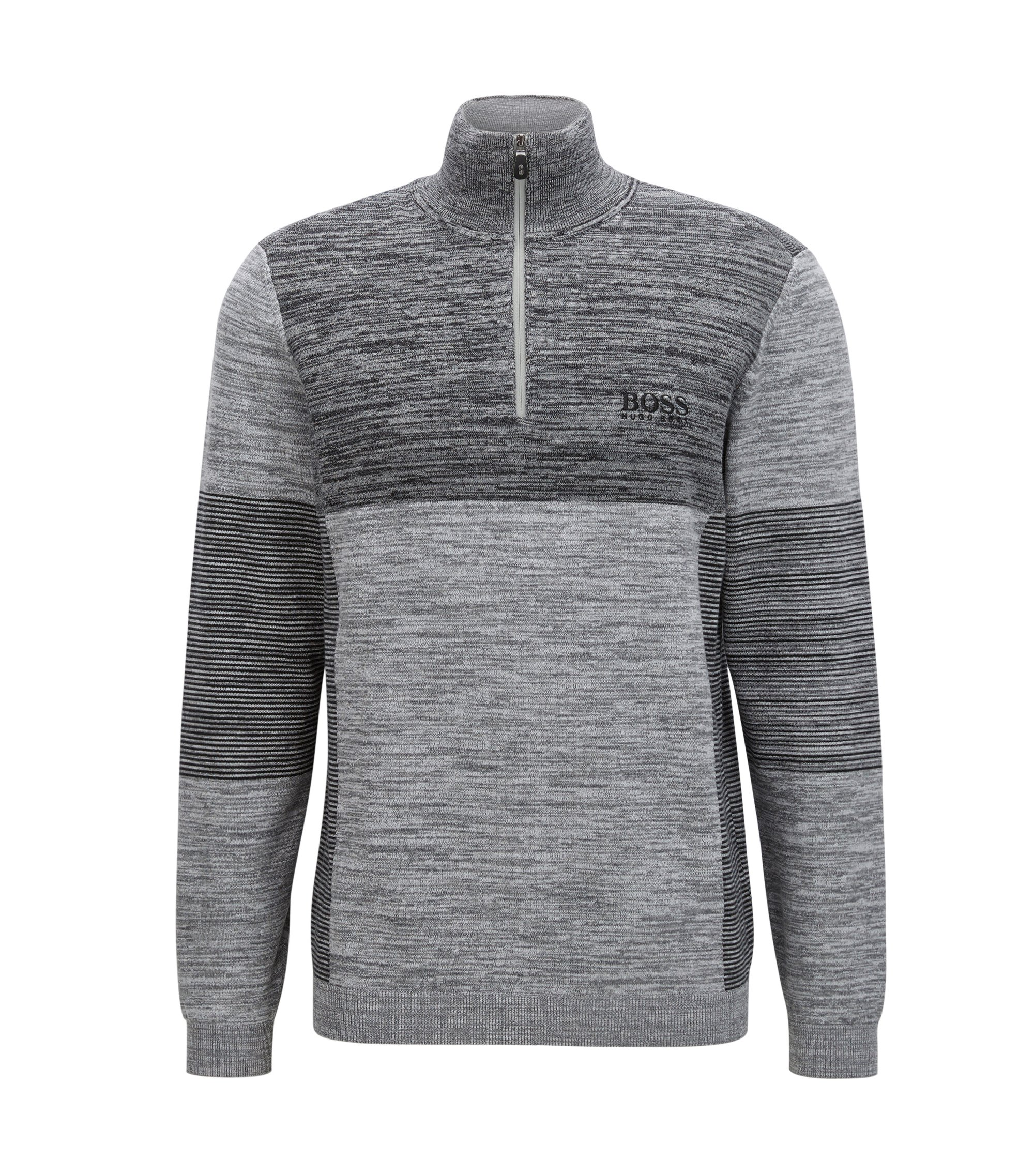Colorblocked Melange Stretch Cotton Half-Zip Sweater   Zadok Pro, Light Grey