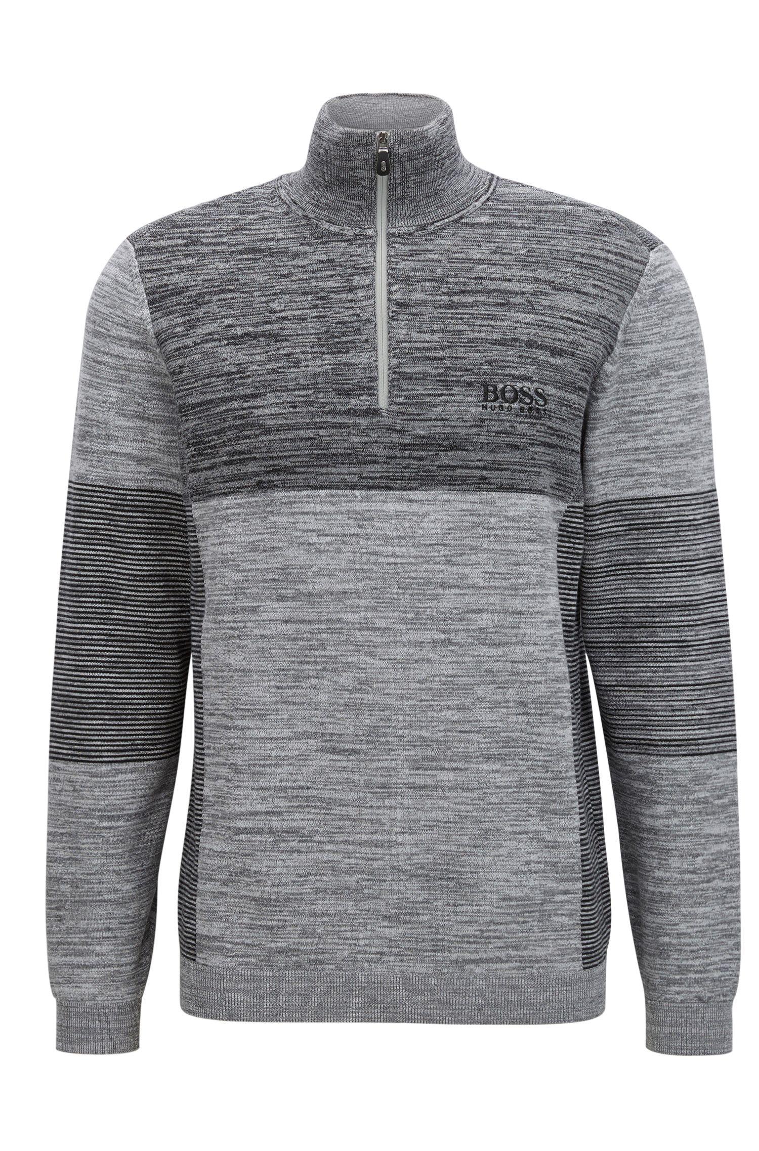 Colorblocked Melange Stretch Cotton Half-Zip Sweater   Zadok Pro